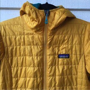 Patagonia Mustard Yellow Nano Puff Hooded Jacket